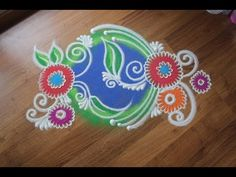 Simple and Easy Rangoll design with colours - YouTube