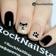In the Rocknailstar online store you can buy . - In the Rocknailstar online store you can buy a Mini Cats Stencil. Different payment methods and del - Cat Nail Art, Cat Nails, Rock Nails, Feather Nails, Elegant Nails, Nail Art Hacks, Perfect Nails, Nail Manicure, Simple Nails