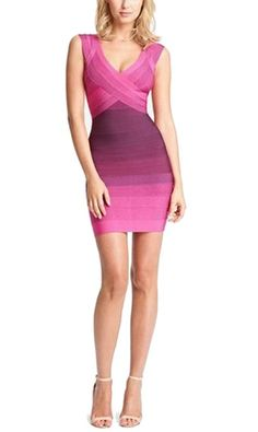 Celebritystyle amethyst ombre bodycon bandage dress