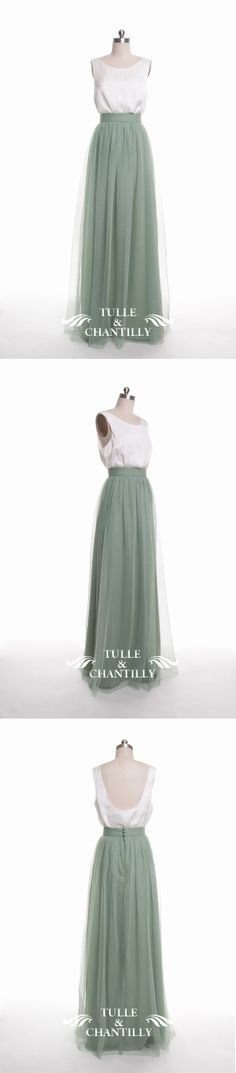 long moss tulle bridesmaid dresses for green inspired wedding