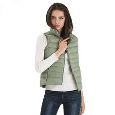 Fitaylor New Women Vests Winter Ultra Light White Duck Down Vest Female Slim Sleeveless Jacket Women Windproof Warm Waistcoat White Ducks, Sleeveless Jacket, Jackets For Women, Clothes For Women, Duck Down, Down Vest, How To Slim Down, Patterned Shorts, Casual Outfits