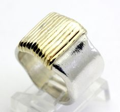 Two-Tone Textured 14K Gold & Sterling Silver Sculptured Wide Band Ring size 7.5 #Band