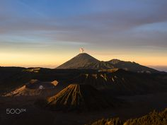 sunrise at bromo in east java - Shot during sunset after a two hour ascent to Mt. Bromo viewpoint no. Asian Games, Mount Rainier, Java, Monument Valley, Sunrise, Explore, Mountains, City, Nature