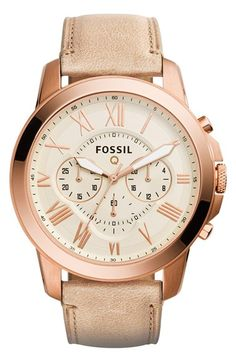 Fossil 'Fossil Q - Grant' Round Chronograph Leather Strap Smart Watch, 44mm available at #Nordstrom