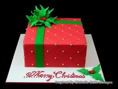 Christmas box cake. Not one of mine, but I like the idea. I might just have to make one myself