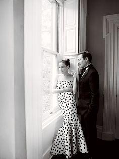 SJP with Broderick at home in an Oscar de la Renta dress, Vogue