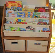 Customer Image Gallery For Kids Sling Bookshelf With Storage Bins