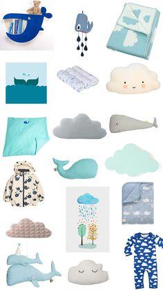 Wolken und Wahle für das Kinderzimmer - Styleboard