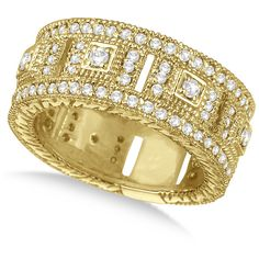 Allurez Vintage Wide Band Byzantine Diamond Ring 14k Yellow Gold... ($2,290) ❤ liked on Polyvore featuring jewelry, rings, wide-band diamond rings, yellow gold diamond rings, 14k yellow gold ring, 14k gold ring and vintage diamond rings