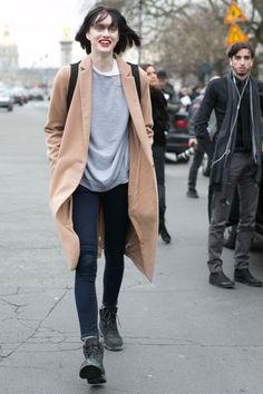 Camel coat and skinnies. Paris