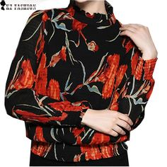 Moet &She European American Style High Quality Womens Blouse Stand Collar Vintage Painting Pullover Tops Women Clothes T69908R