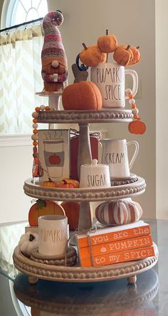 Tiered Tray Styling Ideas You'll Love LOVE this adorable tiered tray styled for fall! Fall Home Decor, Autumn Home, Thanksgiving Decorations, Seasonal Decor, Fall Decorations, Halloween Decorations Apartment, Kitchen Decorations, Tray Styling, Design Tisch