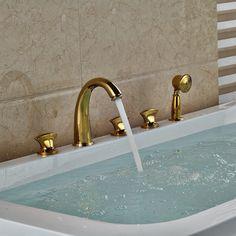 (91.30$)  Watch here  - Multi-style Golden Brass Widespread 5pcs Bathroom Tub Faucet Three Handles Bathtub Faucet