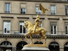 Statue of Joan of Arc  by Emmanuel Frémiet.   The Rue de Rivoli, Paris