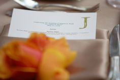 Menu with coral & champagne