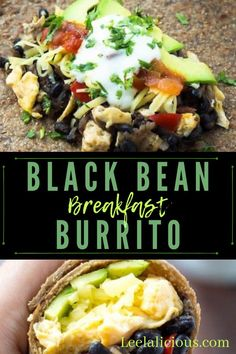 Healthy Black Bean Breakfast Burrito Recipe features a hearty bean & hash brown filling with scrambled eggs, cheese, avocado and salsa rolled into whole wheat tortillas. This is a great healthy breakfast idea that can also be made ahead. Breakfast Beans, Frozen Breakfast, Avocado Breakfast, Breakfast Burritos, Camping Breakfast, Hashbrown Breakfast, Mexican Breakfast, Vegetarian Breakfast Recipes, Mexican Food Recipes