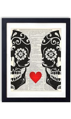 Sugar Skull Love Upcycled Vintage Dictionary Art Print 8x10 Best Price