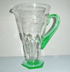 Hawkes Engraved Pitcher: Signed: Morgantown Glass: Laurel Two-tone: Tulip Optic Special SALE! Offered by Yesteryears Accents on rubylane.com/shop/yesteryearsaccents