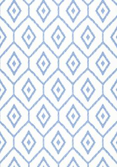 Bari Ikat #wallpaper in #blue from the Caravan collection. #Thibaut