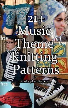 Today is #InternationalJazzDay - Celebrate by knitting these music themed knitting patterns while you listen your your favorite artist. Knitting Patterns with a Music Theme. Most patterns are free