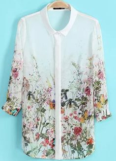 Shop White Crop Sleeve Florals Print Blouse online. Sheinside offers White Crop Sleeve Florals Print Blouse & more to fit your fashionable needs. Free Shipping Worldwide!