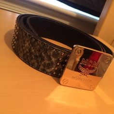MCM Designer Belt MCM belt with snakeskin material and gold detail! MCM Accessories Belts