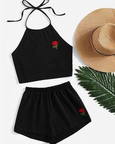 Shop Rose Embroidered Tie Back Halter Top And Shorts Co-Ord online. SheIn offers… Shop Rose Embroidered Tie Back Halter Top And Shorts Co-Ord online. SheIn offers Rose Embroidered Tie Back Halter Top And Shorts Co-Ord & more to fit your fashionable needs. Summer Outfits For Teens, Teenage Outfits, Teen Fashion Outfits, Mode Outfits, Girl Fashion, Girl Outfits, Womens Fashion, Young Fashion, Ootd Fashion