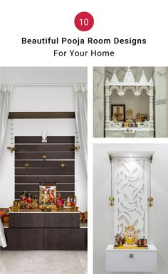 Pooja Room ideas for Indian homes that will leave you mesmerized! Pooja Room Door Design, Home Room Design, House Design, Kitchen Design, Bed Design, Temple Design For Home, Puja Room, Home Decor Hacks, Indian Homes