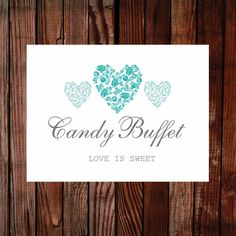 Printable wedding sign. Trio of hearts teal 8x6 inches sign. Easy to edit and print, view the full collection.