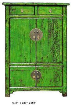 Chinese Bright Green Lacquer Red Cabinet Asian Furniture Other Metro Golden Lotus