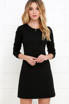 Perfectly Posh Black Long Sleeve Dress at Lulus.com!