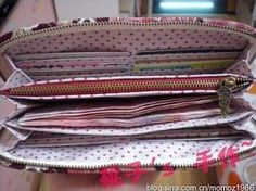 Nice photo tutorial for wallet with zippered pouch, accordian pleats for bills, and lots of slots for cards.