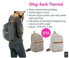 Sling-Back Thermal by Thirty-One Fall Our New Sling-Back Thermal bag is perfect for carrying lunch & snacks hands free! Thirty One Fall, Thirty One Party, Thirty One Gifts, One Shoulder Backpack, Backpack Straps, Sling Backpack, Thirty One Thermal, Thirty One Organization, Thirty One Business