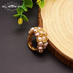 GLSEEVO Handmade Natural Baroque Fresh Water Pearl Rings For Women Wedding Party Engagement Ring Fine Luxury Jewellery Pearl Rings, Gemstone Rings, Luxury Jewelry, Fresh Water, Baroque, Choker, Brooch, Shapes, Engagement Rings