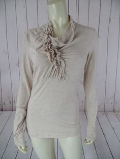 CABI Shirt Top M Pale Peach Heather Cotton Spandex Tissue Thin Stretch Knit BOHO…
