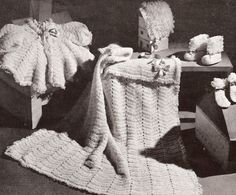 Loopy stitch  baby matinee coat set vintage crochet pattern PDF instant download