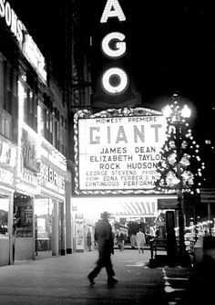 "Marquee for for the Midwestern premiere of ""Giant"" in Chicago Vintage Movie Theater, Vintage Movies, Classic Hollywood, Old Hollywood, James Dean Photos, Rock Hudson, Video Film, Vintage Photography, I Movie"