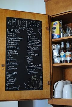 chalkboard cupboards | DIY Paint with chalkboard paint inside your cupboard door for notes ...