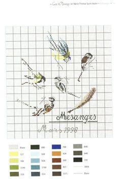 0 point de croix grille et couleurs de fils des mésanges par marie therese st aubin,oiseaux