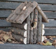 Log cabin. Tree branches, how cute is this!!