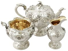 SCOTTISH STERLING SILVER THREE PIECE TEA SERVICE ANTIQUE VICTORIAN
