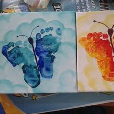 Ideas Diy Knutselen Oma For 2019 Cute Kids Crafts, Baby Crafts, Toddler Crafts, Preschool Crafts, Footprint Crafts, Diy Presents, Christmas Cards To Make, Mothers Day Crafts, Summer Crafts