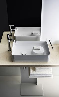 Different shapes and textures make their mark on 2016 bathrooms. New VAL products designed by Konstantin Grcic. Complemented by the Kartell by Laufen faucet.  Read more: http://www.ish.laufen.com/LAUFEN_ISH_EN/en_eng/sa_ish/sa_products/