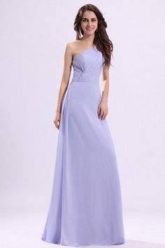 A-Line/Princess One-Shoulder Floor-Length Chiffon Charmeuse Bridesmaid Dresses With Ruffle - JJsHouse en Homecoming Dresses Long, Cheap Prom Dresses, Cheap Wedding Dress, Bridesmaid Dresses, Formal Dresses, Bridesmaids, Wedding Dresses, Purple Evening Gowns, Evening Dresses