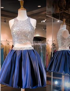 Modern Sparkling Scoop Royal Blue Two-pieces Short Homecoming Dresses with…