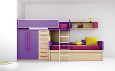 Combination comprising bunk bed, wardrobe and drawers.