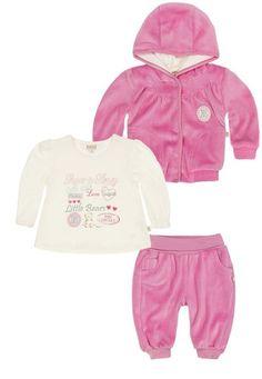 KANZ Kanz Sweatjacke langärmlig mit Kapuze + T-Shirt langärmlig + Jogginghose Mädchen Baby pink