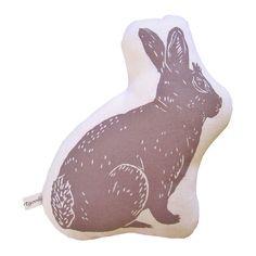 Wood Cut Bunny Print Pillow