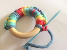 Crochet Tutorial Wood Ring Teether Crochet Tutorial - ChristaCoDesign - Learn to crochet a wood ring teether for your little one. Photo tutorial leads you through this quick and easy project your favorite drooler will love. Crochet Tutorial, Crochet Pattern Free, Crochet Diy, Learn To Crochet, Crochet Patterns, Crochet Ideas, Baby Diy Projects, Baby Crafts, Crochet Projects