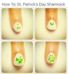 "How To: St. Patrick's Day Shamrock nails!! @Julep ""Step 1 would be your bottom leaf, it is just showing how to do it. Step 2 is flipped but that would be your top leaf."" Basically, connect the dots! So going to try and do this!!"